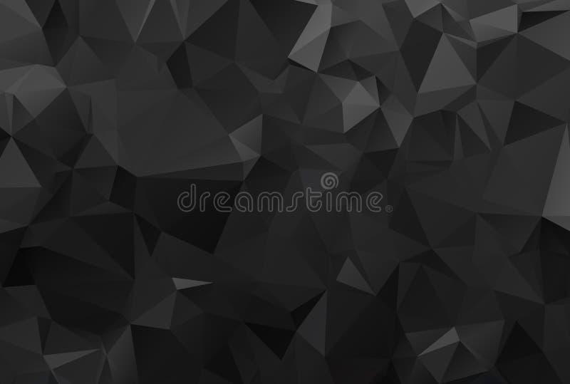 Черная предпосылка Текстура черноты треугольника конспекта Низкая поли черная иллюстрация картины бесплатная иллюстрация