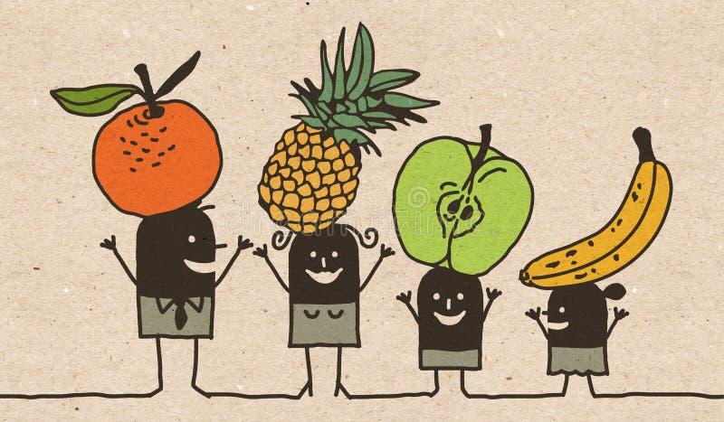 Черная семья мультфильма - еда плодов бесплатная иллюстрация