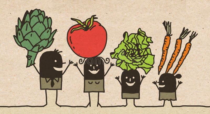 Черная семья мультфильма - еда овощей иллюстрация вектора