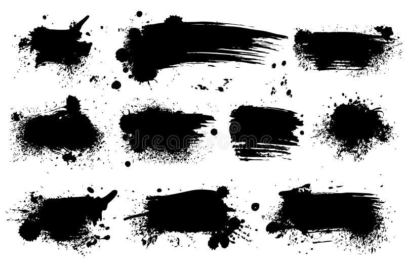 чернила брызгают Черное покрытое краской пятно грязи splatter splattered выплеск брызг с падениями закрывает изолированный набор  иллюстрация вектора