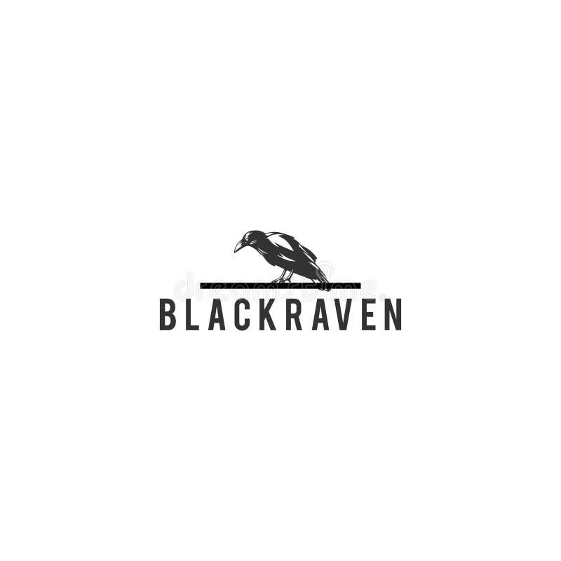 Черный вектор дизайна логотипа ворона иллюстрация вектора