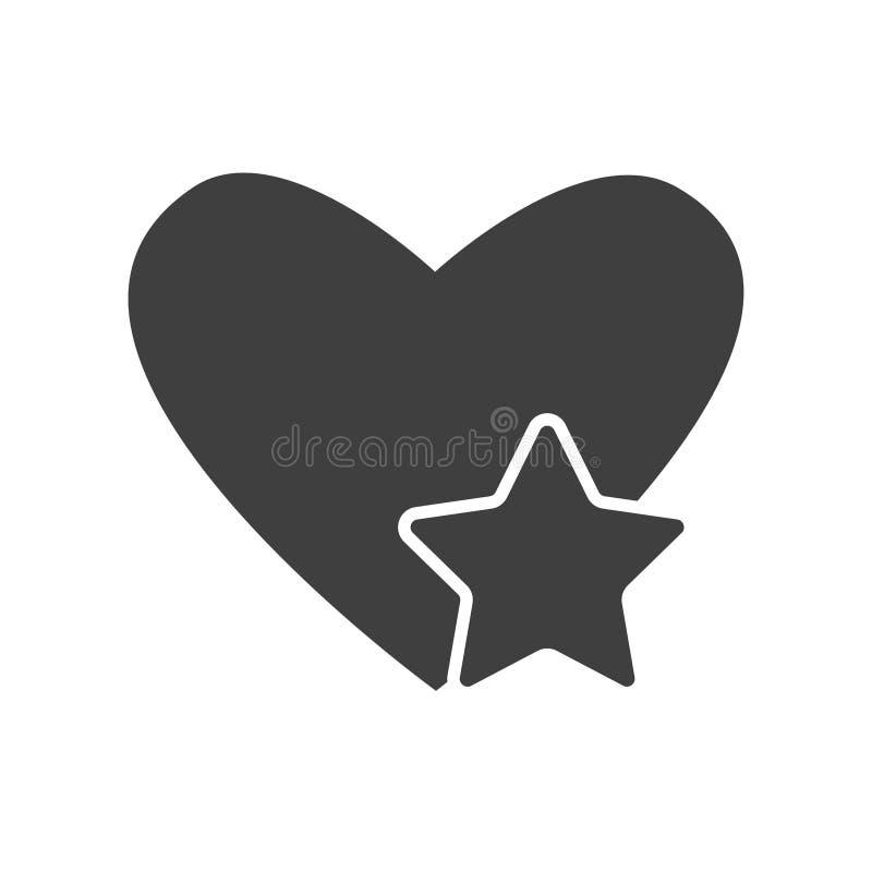 Черный значок сердца со звездой изолированной на белой предпосылке Форма любов страсти, концепция здоровья Символ дня валентинки  бесплатная иллюстрация