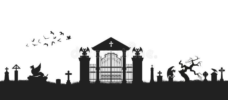 Черный силуэт готического кладбища зодчество средневековое Погост с воротами, криптой и надгробными плитами против летучих мышей  бесплатная иллюстрация
