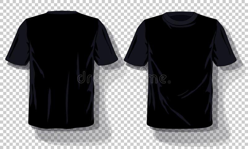 Черный шаблон футболок установил изолированный, предпосылка вычерченных футболок руки прозрачная Пустой шаблон рекламы модель-мак иллюстрация вектора