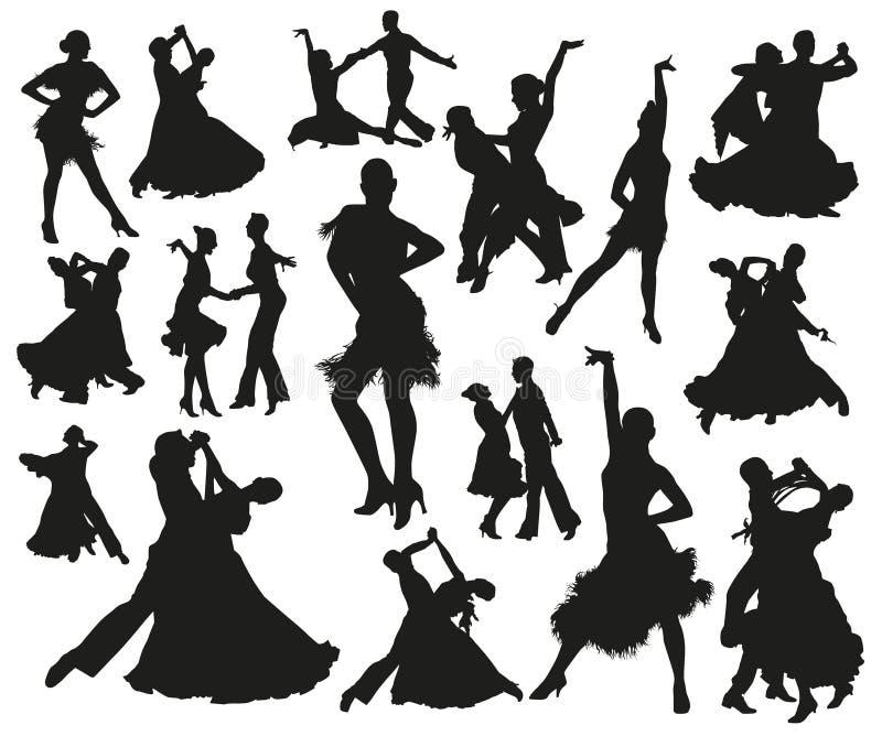 Черный танцуя изолированный парами набор силуэта людей иллюстрация штока