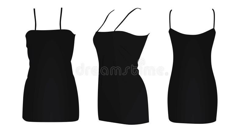 Черное короткое платье иллюстрация штока