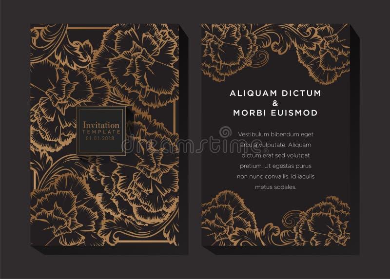 Чернота и предпосылка приглашения золота иллюстрация вектора