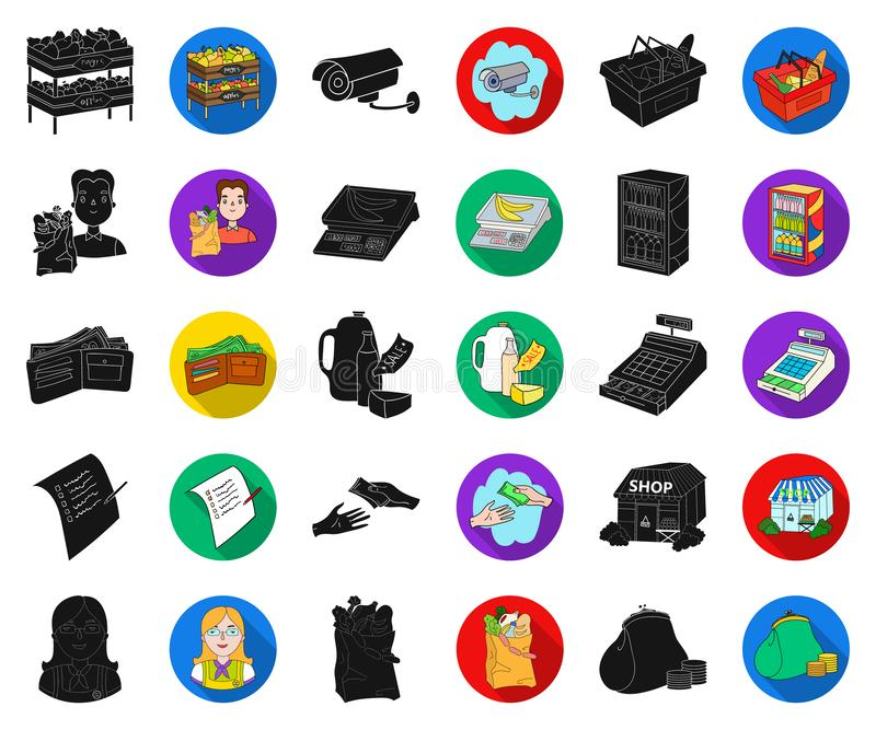 Чернота супермаркета и оборудования, плоские значки в установленном собрании для дизайна Приобретение сети запаса символа вектора иллюстрация штока