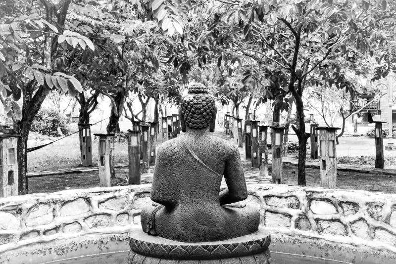 Черно-белая каменная статуя Будды сидя и размышляя в тропическом саде спа стоковое изображение rf
