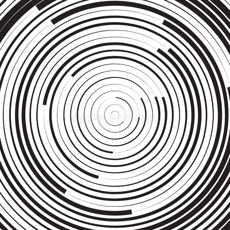 Черно-белая концентрическая линия предпосылка или волновой эффект круга бесплатная иллюстрация
