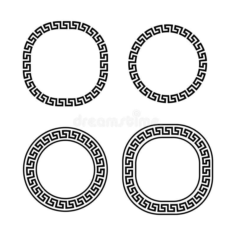 Черно-белые греческие рамки набор меандра, шаблон вектора иллюстрация вектора