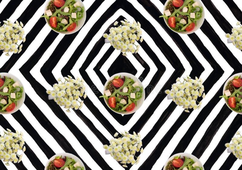 Черно-белые цветки хризантемы arugula томатов салата плиты предпосылки нашивки иллюстрация штока
