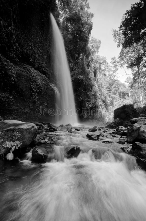 Черно-белый водопад Sendeng Gile в Lombok, Индонезии стоковое фото rf