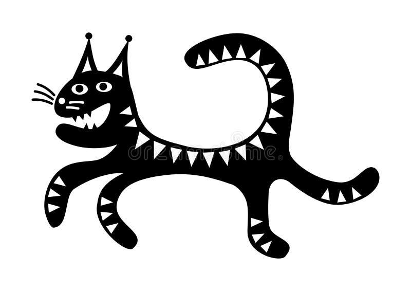 Чертеж мультфильма идущего кота смешной черно-белый иллюстрация штока