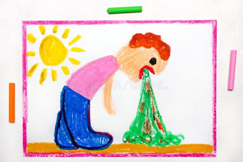 Чертеж: Тошня человек Знак пищевого отравления иллюстрация штока