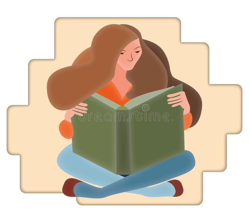 Woman sitting down reading a book on an abstract background. royalty free illustration