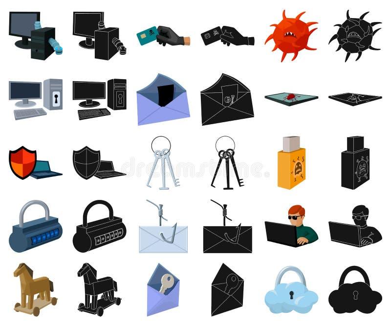 Хакер и рубить мультфильм, черные значки в установленном собрании для дизайна Сеть запаса символа вектора хакера и оборудования иллюстрация вектора