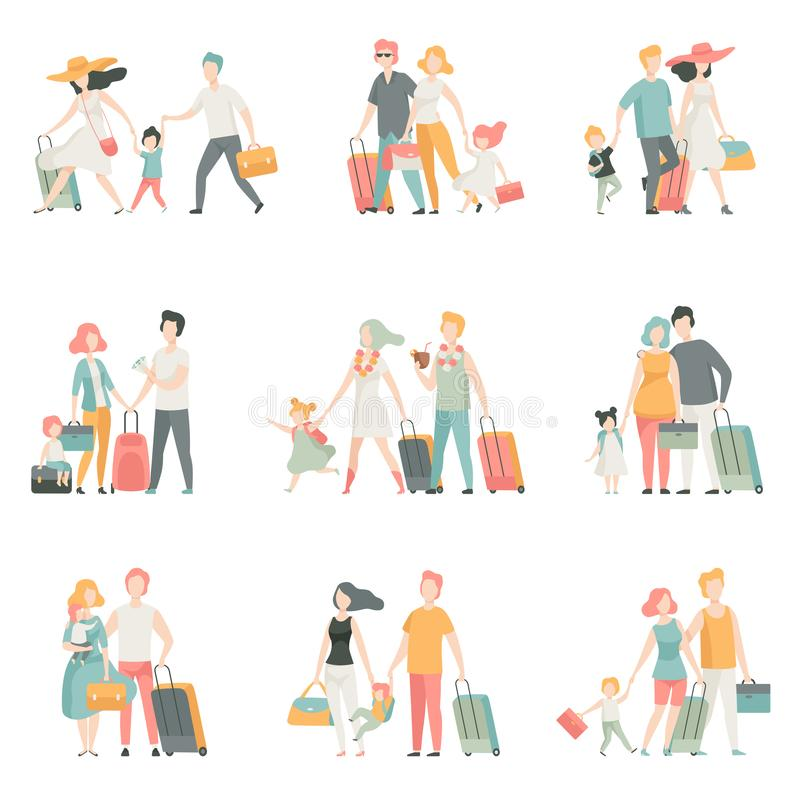 Характеры набора, отца, матери и детей перемещения семьи путешествуя совместно, счастливая иллюстрация вектора семьи бесплатная иллюстрация