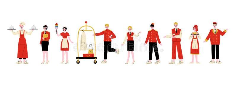 Характеры набор штата гостиницы, шеф-повар, менеджер, горничная, Bellhop, администратор, консьерж, официантка, швейцар в красной  иллюстрация штока
