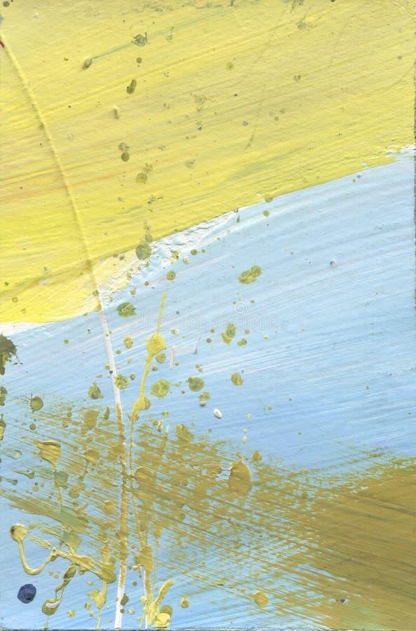 Холст акварели замученный конспектом Влияние пустыни акриловое брызгает ручной работы желтый цвет краски и голубую текстуру Гради стоковое фото rf