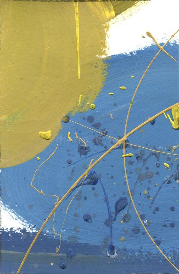 Холст акварели замученный конспектом Влияние пустыни акриловое брызгает ручной работы линии текстуру краски желтые и голубые голу иллюстрация вектора