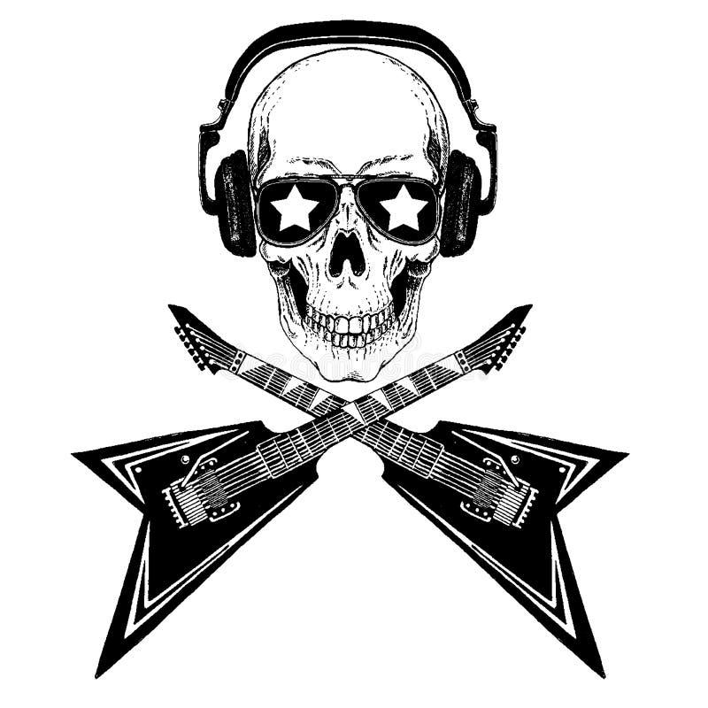 Холодный череп рок-музыки вектора с наушниками для футболки, эмблемы, логотипа, татуировки, эскиза, заплаты бесплатная иллюстрация