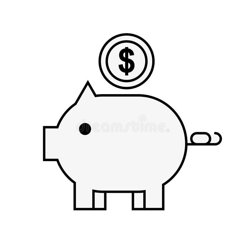 Ходить по магазинам денег монетки копилки онлайн иллюстрация вектора