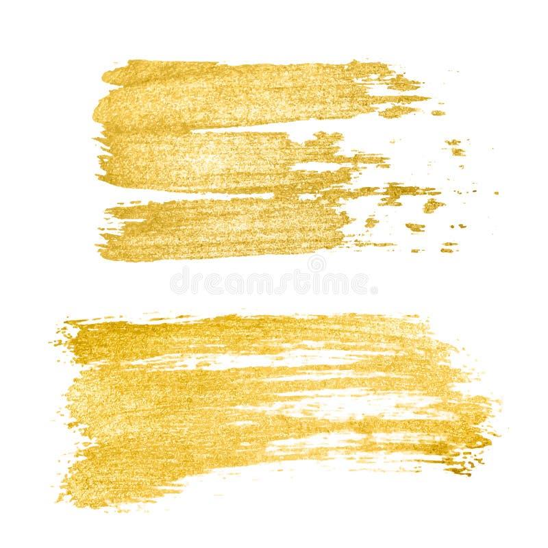 Ход щетки вектора золотые, щетка, линия или текстура Элемент, коробка, рамка или предпосылка дизайна хода щетки руки вычерченные  бесплатная иллюстрация