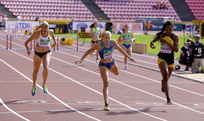 ХОДОК Сильвия SCHULZ, Brooke JAWORSKI и Sanique бежать барьеры в 400 метров нагревает на мире IAAF стоковая фотография rf