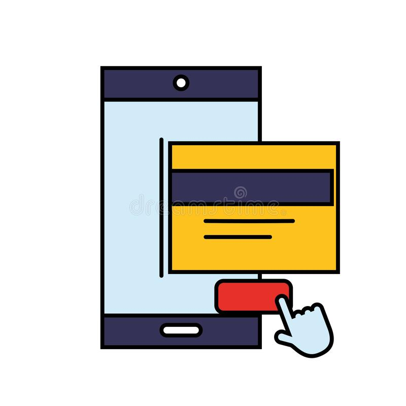 Щелчок кредитной карточки смартфона оплачивает онлайн покупки иллюстрация штока