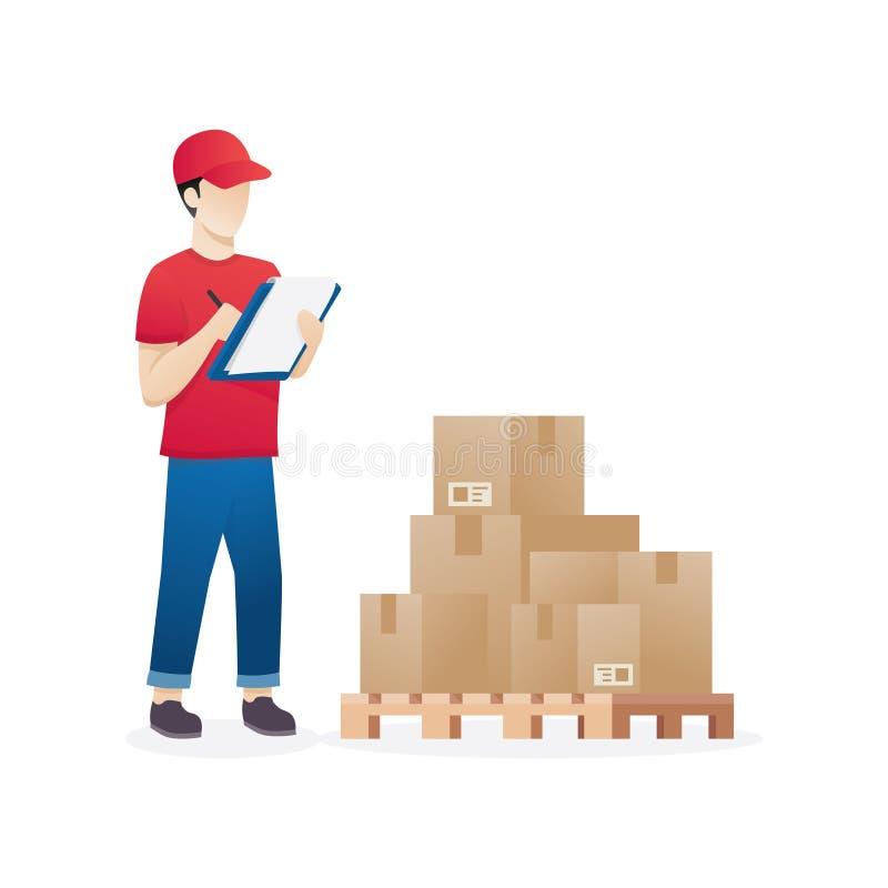 Работник склада проверяя товары на запасе паллета бесплатная иллюстрация