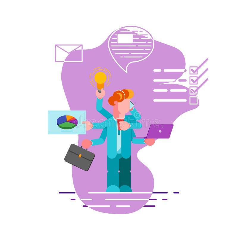 Работник офиса с много рук делая несколько действий в то же время Концепция Multitasking, урожайности и контроля времени иллюстрация штока