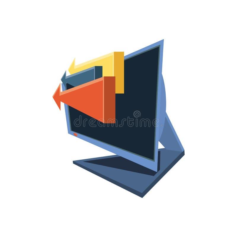 Рабочий стол компьютера с приложением доставки бесплатная иллюстрация