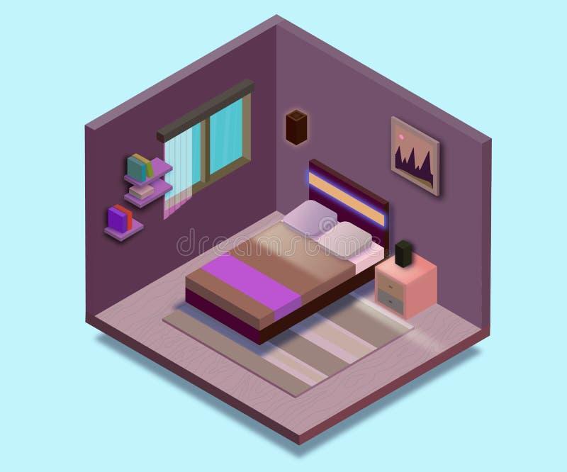 Равновеликая иллюстрация спальни Иллюстрация вектора плоская иллюстрация вектора