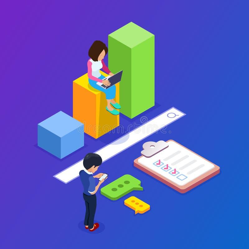 равновеликая концепция engineg поиска 3d Люди находят информация используя портативные приборы Диаграмма роста и Адвокатура поиск бесплатная иллюстрация