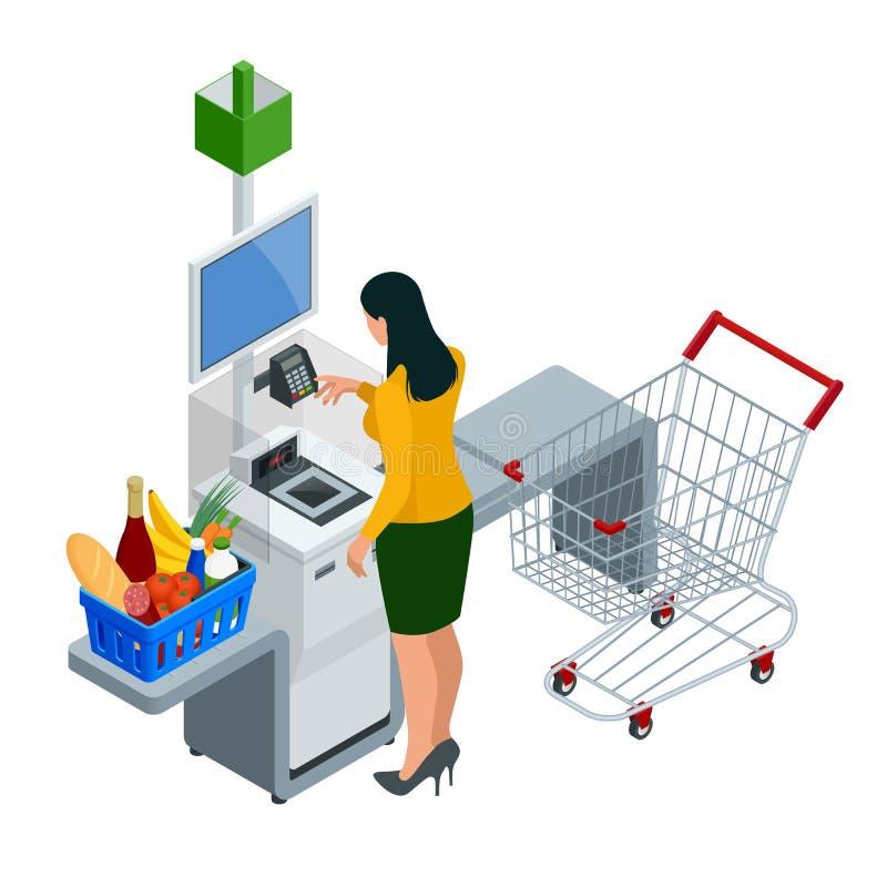 Равновеликие кассир или терминал самообслуживания Молодая женщина оплачивая на счетчике самообслуживания используя дисплей сенсор бесплатная иллюстрация