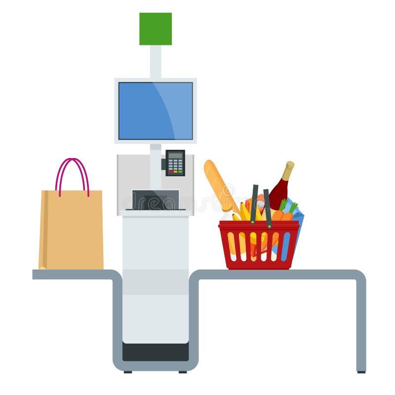 Равновеликие кассир или терминал самообслуживания Пункт с самообслуживанием оформляет заказ в супермаркете иллюстрация штока