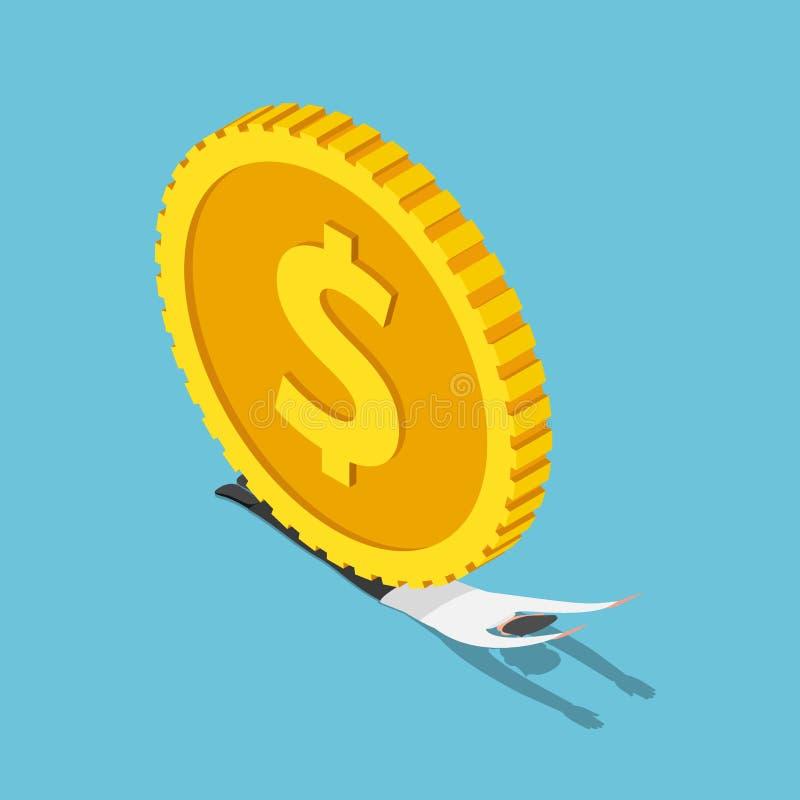 Равновеликий бизнесмен был задавлен огромными монетками доллара иллюстрация штока