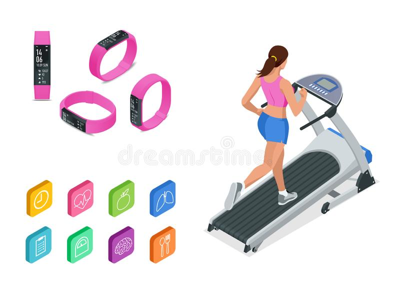 Равновеликий ход на третбане и браслете или отслежывателе фитнеса изолированных на белизне Аксессуары спорт, wristband с бесплатная иллюстрация