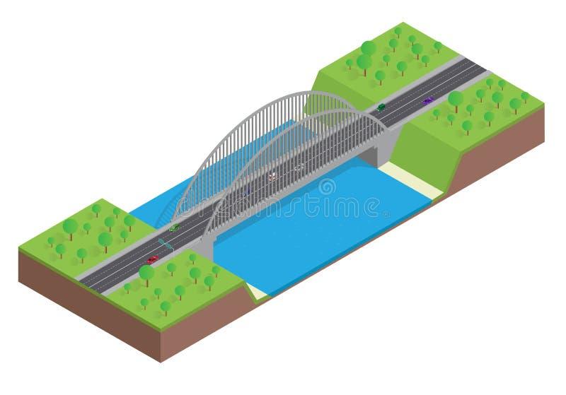 Равновеликое шоссе на мосте над рекой иллюстрация штока