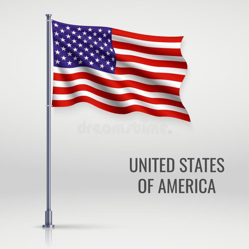 Развевая флаг на флагштоке иллюстрация штока