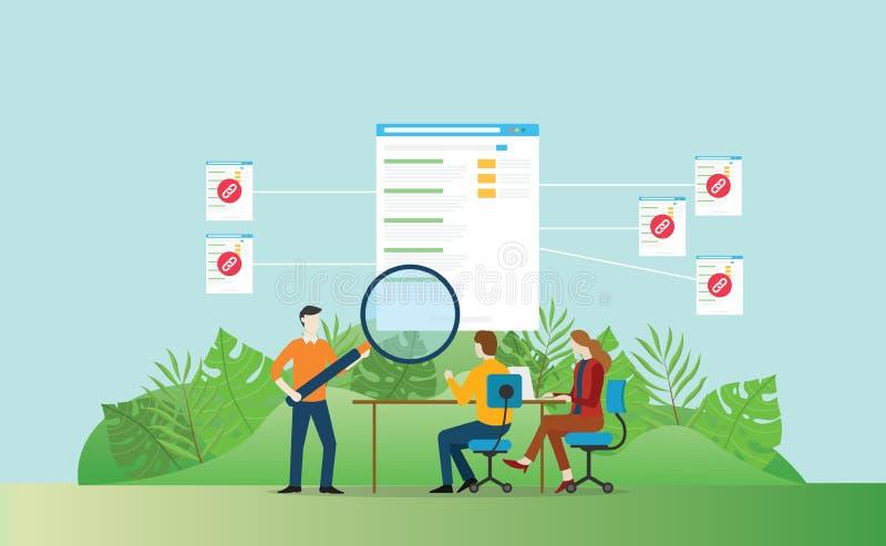 Развитие вебсайта seo Backlinks для увеличения посетителя движения - иллюстрации вектора иллюстрация вектора