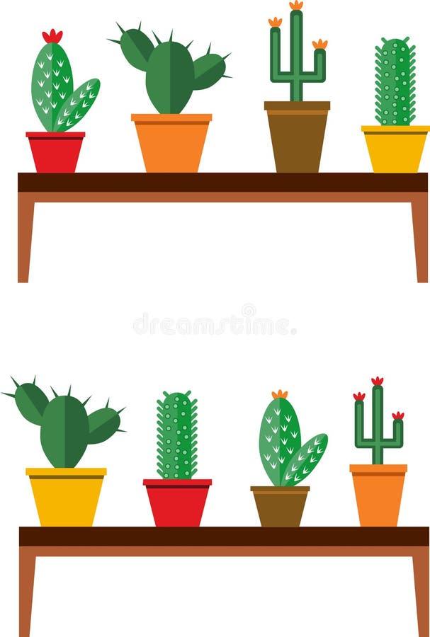 Различные кактусы в баках иллюстрация вектора