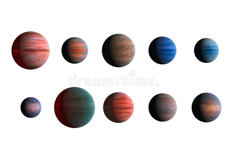 Различные планеты изолированные на белой предпосылке Элементы этого изображения поставленные NASA стоковые изображения