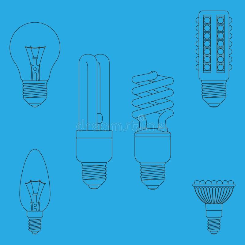 Различные электрические лампочки иллюстрация вектора