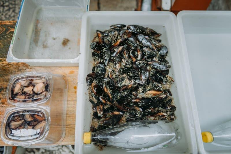 Различный вид свежего, красные люцианы на местном рынке Свежие тропические рыбы на подносе Сортировал свежих рыб моря дальше стоковые изображения