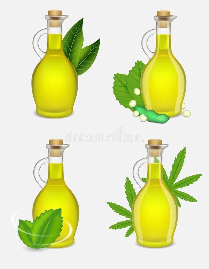 Разные виды набора бутылки масла завода, иллюстрации вектора реалистической бесплатная иллюстрация