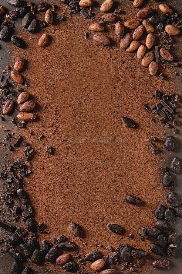 Разнообразие бобов кака стоковое изображение rf