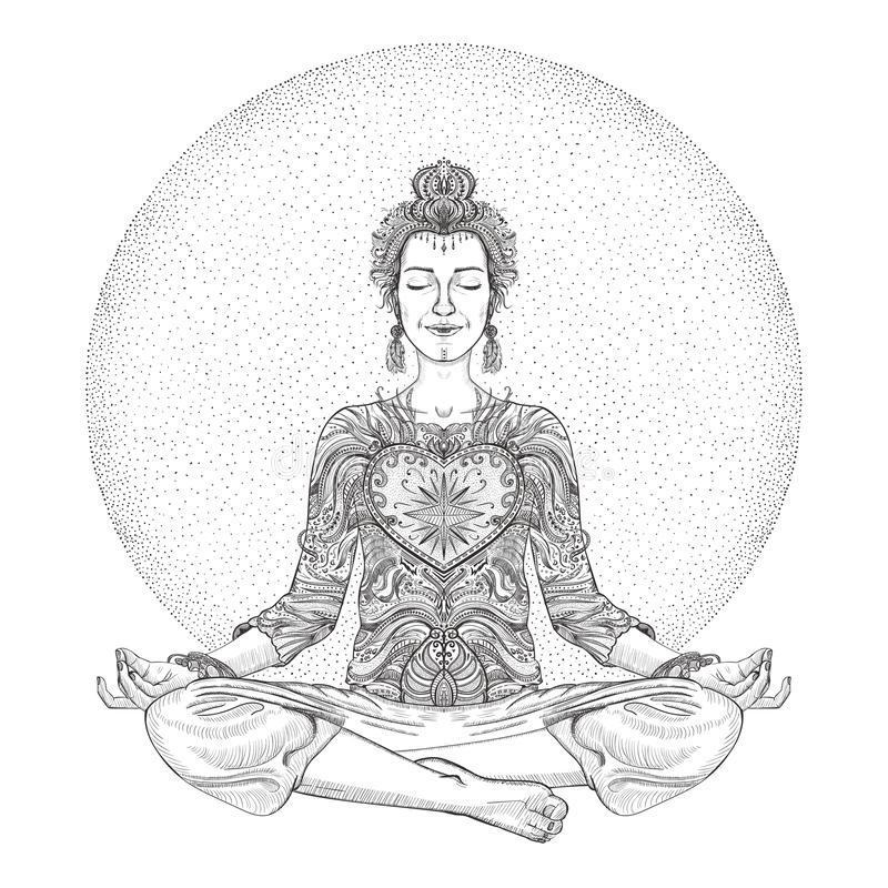Раздумье йоги практики женщины, представление лотоса, графическая иллюстрация бесплатная иллюстрация