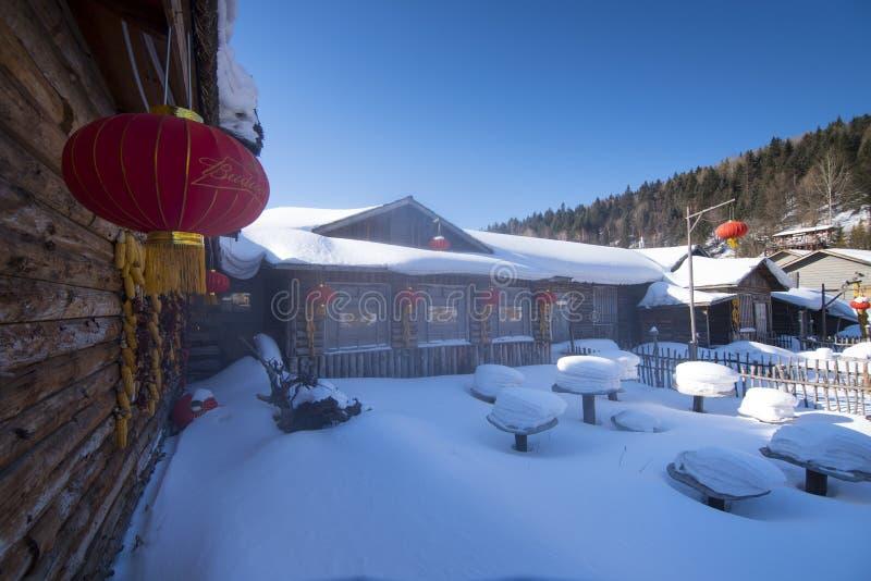Район городка снега Китая в фестивале 2019 снега фарфора с красным китайским фонариком украшенным в городке очень стоковые фото